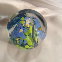 Hand Blown Art Glass Paperweight.  Unique Glass Paperweight in Spring Colors.  Swirling Petals Glass Art Paperweight.