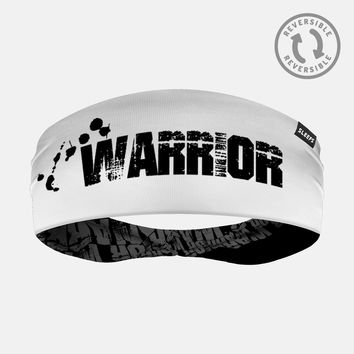 Warrior Word Black White Double Sided Headband