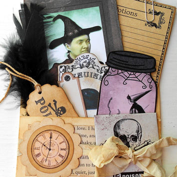 Halloween Loaded Pocket Skull Envelope Witches Tags Potion Labels Spell Note Cards Black Feather Junk Journal Supplies Scrapbooking