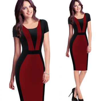 Color Block V-Pattern Cap Sleeve Body-con Dress