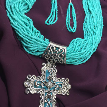 Turquoise Multistrand Seed Bead Necklace Cross Pendant