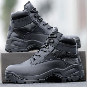 Men delta Army Tactical Boots Leather Low-Zip Waterproof Combat Boots Black Outdoor Hiking Shoes sneaker for men Climbing Shoes