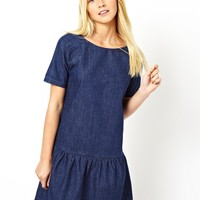 ASOS Premium Denim Dress with Drop Waist