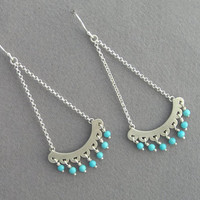Chandelier Earrings - Turquoise Dangle Earrings - Sterling Silver - Oriental Long Earrings