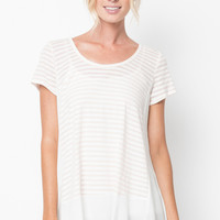 solid paneled striped tunic