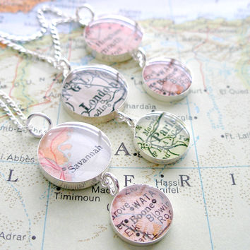 Duet Map Necklace. You Select two Journeys.
