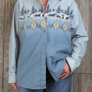 New XL size Cabelas Chamois Shirt Womens Blue Gray Horse Soft Top Casual Blouse