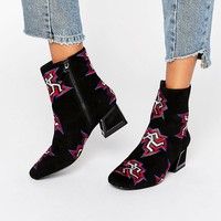 Kat Maconie Daphne Black Dancer Print Heeled Ankle Boots at asos.com