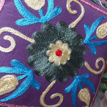 Suzani Embroidery Cotton Cushion Cover, Multi Color Theme, Ethnic Embroidered Pillow Cover, Outdoor Cushion Cover, Size 16 X 16 Inches