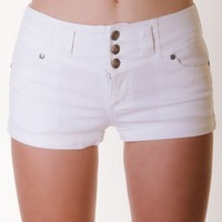 WHITE MUST-HAVES COLORED COTTON SHORTS WITH BUTTONS @ KiwiLook fashion
