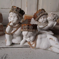 Crowned cherubs statue figurines set of 3 shabby cottage chic Christmas holiday decor paint angel figures home decoor anita spero design