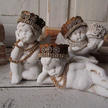 Crowned Cherubs Statue Figurines Set Of 3 Shabby Cottage Chic Ch. Anita  Spero Design