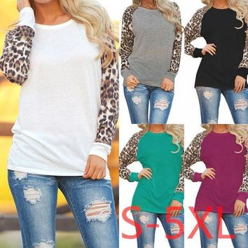 5xl 2017 Plus Size Women Clothing Spring Autumn Women T Shirt Casual Sexy Splice Leopard Large Big Size Long Sleeve Chiffon Top