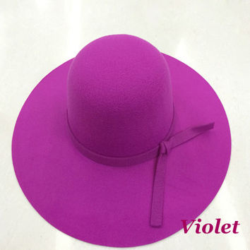 Soft Women Vintage Retro Wide Brim Wool Felt Bowler Fedora Hat