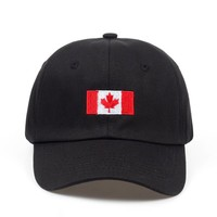 Flag of Canada Black Embroidered Cotton Dad Hat