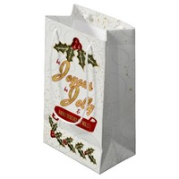 Red and Green Holly Berries with Gold Trimming Small Gift Bag