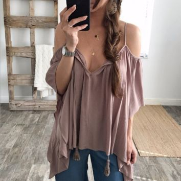 Fashion Contracted Off Shoulder Straps Blouse Top