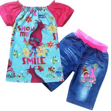 2017 Summer Girls Clothing Set Trolls T-shirt +Jeans Shorts For Baby Girls Poppy Costume Cotton Tees Children Tops For Kids