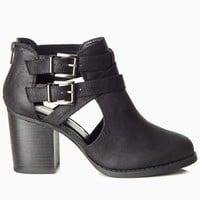 Black-Buckle-Cutout-Heeled-Ankle-Boot