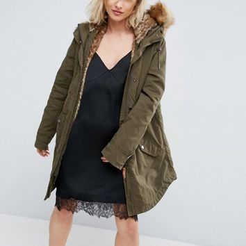 Parka London Lara Detachable Fluffy Lining Parka at asos.com