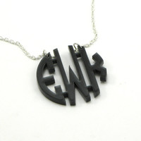 Acrylic Monogram Necklace - Monogrammed Gift - Personalized Custom Laser Cut Acrylic Jewelry