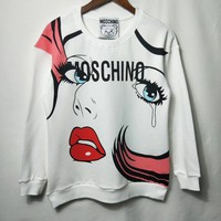 """MOSCHINO"" Sweet Cute Cartoon Pattern Print Long Sleeve Sweater Women Casual Tops"