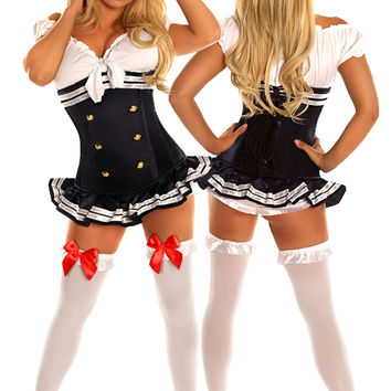 3 PC Pin-Up Navy Officer Costume