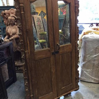 Antique Door PANELS Indian Mirror Carved Teak Wood Doors with Frame Reclaimed Architectural SPANISH TUSCAN 18C
