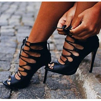 Strappy Hollow Fashion Women Peep Toe Sandals High Heels Shoes