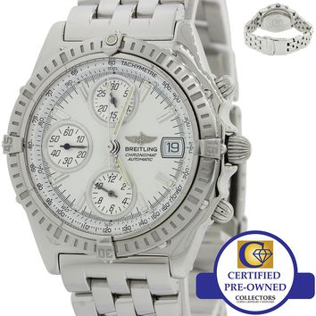MINT Breitling Chronomat Chronograph White A13050.1 Steel Date Pilot Watch J8