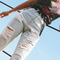 Afends Ripped Luckies - High Waist Slim Jeans
