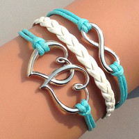 heart to heart-infinity bracelet Charm Bracelet light blue Wax Cords white Braided Leather Friendship Gift Personalized jewelry wholesale