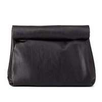 Black Roll-Down Lunch Bag Clutch by Charlotte Russe