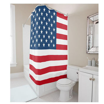 Custom polyester shower curtain American flag waterproof bathroom bathroom [11550525903]
