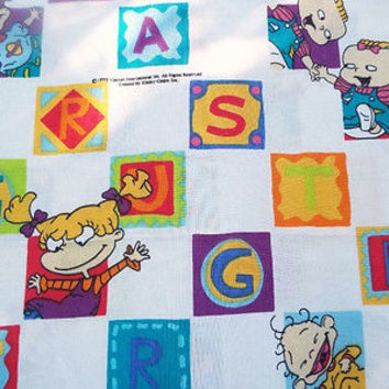 Nickelodeon Rugrats Fabric Material Crafts Novelty Bed Sheet Flat Vintage