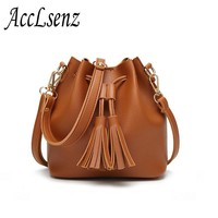 Fashion New Women Handbags Tassel Small Bucket Bags Women Shoulder Bags Casual Pu Leather Messenger bag