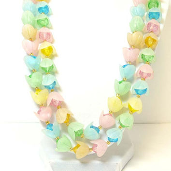 Pastel Two Strand Flower Necklace - Vintage Signed West Germany Plastic Jewelry