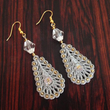 Silver lace earrings Bridal lace earrings Wedding earrings Beaded earrings Sequin earrings Wedding lace earrings Lace jewelry Gift for her