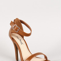 Anne Michelle Leatherette Ankle Strap Open Toe Heel