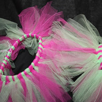 12 month, 2T, green and pink combination tulle tutu skirt