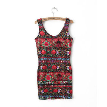 Summer Women's Fashion Vintage Floral Print Slim Sleeveless One Piece Dress [5013382532]