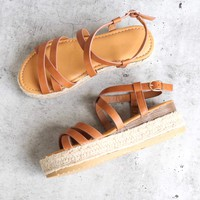 Multi Bands Crossed-Strap Espadrille Platform Sandal with Ankle Strap in Tan