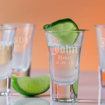 6 Engraved Groomsman Shot Glasses - Set of Six Groomsman Personalized Gifts