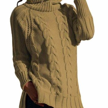 Khaki Turtle Neck Long Tail Cable Sweater