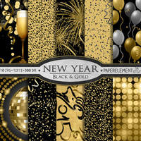 New Year Digital Paper Pack: Printable Party Digital Paper with New Year's Eve Theme - Black and Gold 2015 Chinese New Years Scrapbook Paper