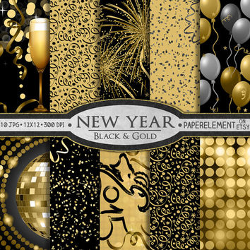 new year digital paper pack printable party digital paper with new years eve theme