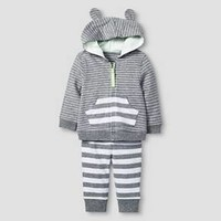 Baby 2 Piece Jogger Set Baby Cat & Jack™ - Heather Grey/White