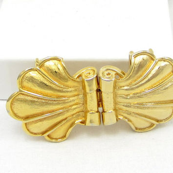 Mimi Di N Belt Buckle Gold Shell Beach Theme Vintage Costume Jewelry Belt Buckles 1979 Designer Signed Womens 1 Inch Accessories MIMI DIN