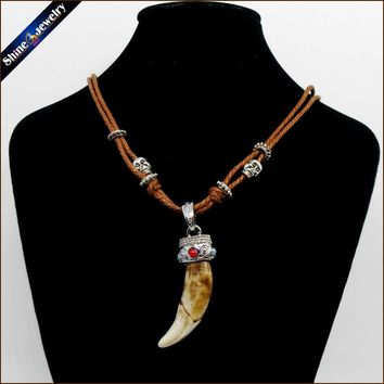 Vintage Women Men Tibet Jewelry Amulet Real Brown Wolf Teeth Fangs Canine Pendant Surfer Rope Chain Necklace Adjustable NG015