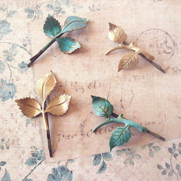 Bridesmaid Gifts Four Leaf Branch Bobby Pins by dreamsbythesea